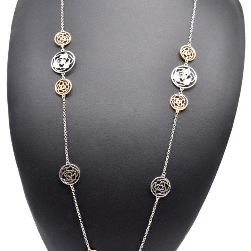 Sautoir-Collier-Fine-Chaine-avec-Charms-Cercles-Fleur-Ciselee-Metal-Strass-Tricolore