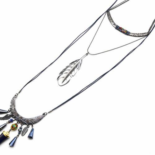 Sautoir-Collier-Triple-Rang-Torque-et-Plume-Metal-avec-Charms-Ethnique-BleuGris