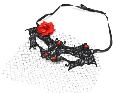 Masque-Dentelle-Noire-Style-Baroque-avec-Voile-Fleur-Tissu-et-Pierres-Rouges