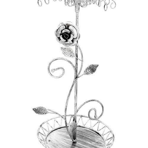 Presentoir-Bijoux-Arbre-Fleuri-pour-Colliers-Bracelets-Porte-Cles-Bagues-Gris-Patine