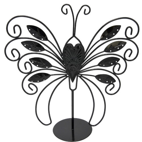 Presentoir-Bijoux-Papillon-Feuilles-pour-Boucles-dOreilles-Bracelets-et-Colliers-Noir
