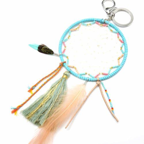 Porte-Cles-Bijou-de-Sac-Attrape-Reves-Feutrine-avec-Perles-Pompon-et-Plumes-Turquoise