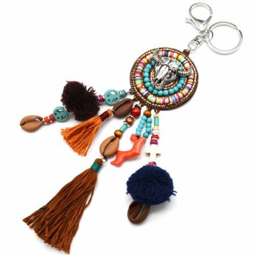 Porte-Cles-Bijou-de-Sac-Cercle-Buffle-Metal-Multi-Pieces-Perles-Turquoise-et-Pompons-TaupeMulticolore