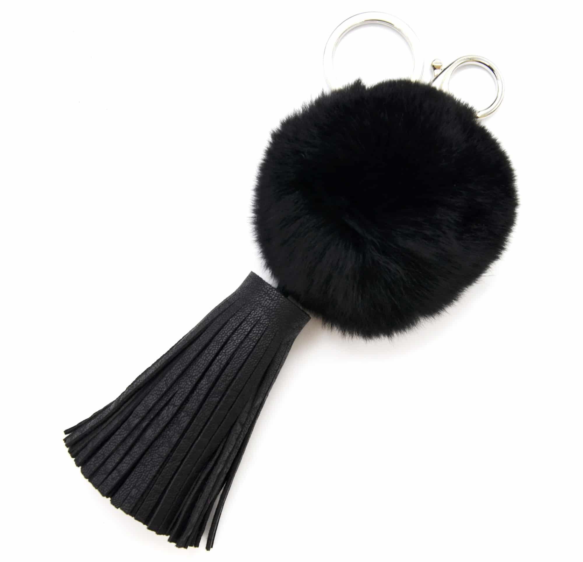 pt1083e porte cl s bijou de sac gros pompon fourrure. Black Bedroom Furniture Sets. Home Design Ideas