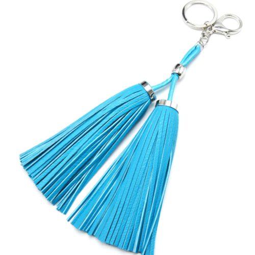 Porte-Cles-Bijou-de-Sac-Double-Pompons-Franges-Simili-Cuir-Bleu