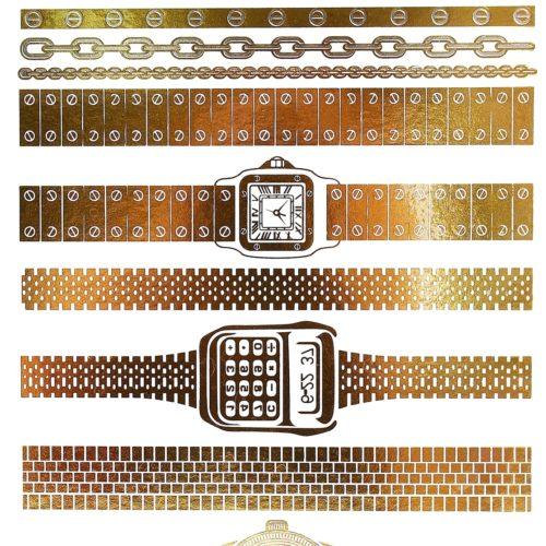 Planche-Tattoo-Tatouage-Ephemere-Temporaire-Metallique-Body-Art-Montres-et-Bracelets-ArgentOr