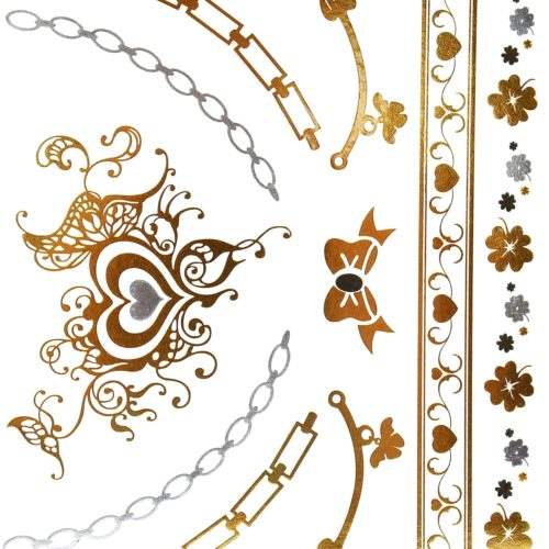 Planche-Tattoo-Tatouage-Ephemere-Body-Art-Coeurs-et-Noeuds-ArgentOr