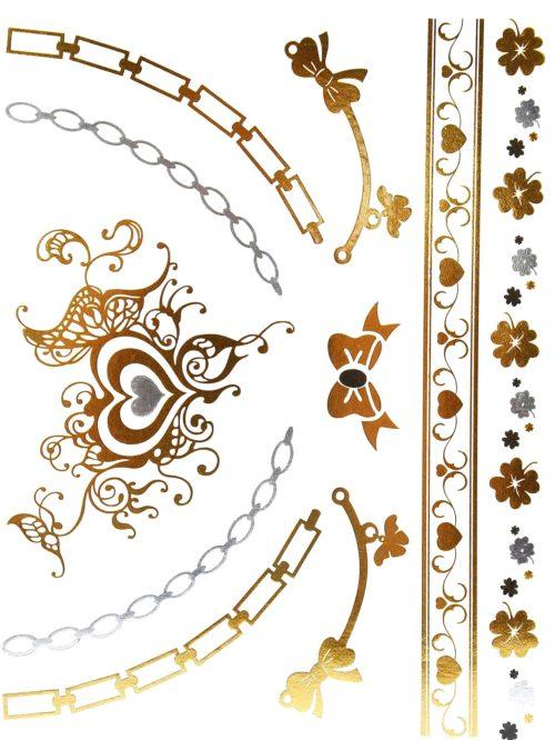 Planche-Tattoo-Tatouage-Ephemere-Temporaire-Metallique-Body-Art-Coeurs-et-Noeuds-ArgentOr