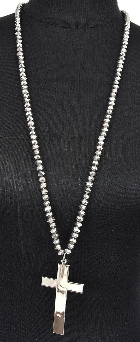 Sautoir-Collier-Perles-Brillantes-Grises-Pendentif-Croix-Metal-Argente