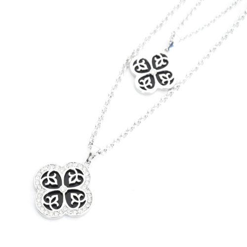 Sautoir-Collier-Double-Chaines-Pendentif-Trefles-Strass-Metal-Argente-et-Resine-Noire