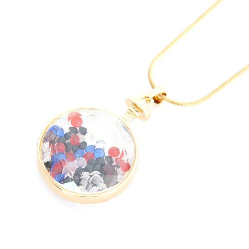 Sautoir-Collier-Pendentif-Cercle-Verre-Metal-Dore-avec-Cristaux-Multicolore