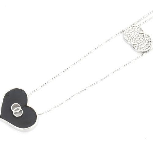 Sautoir-Collier-Double-Chaines-Pendentif-Cercles-Strass-Metal-Argente-et-Coeur-Resine-Noire