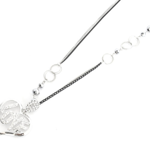 Sautoir-Collier-Chaine-Metal-Noir-Pendentif-Coeur-Love-Strass-Argente