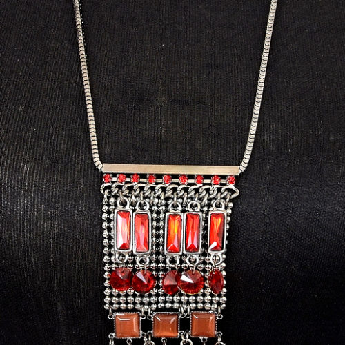 Sautoir-Collier-Pendentif-Franges-Style-Ethnique-Metal-Gris-et-Pierres-Rouges