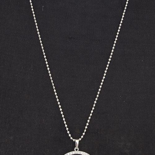 Sautoir-Collier-Pendentif-Cercle-Ajoure-Multi-Chaines-Metal-Argente-et-Contour-Strass