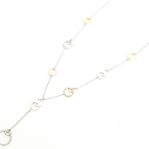 Sautoir-Collier-Charms-Cercles-Entrelaces-Strass-et-Metal-Tricolore