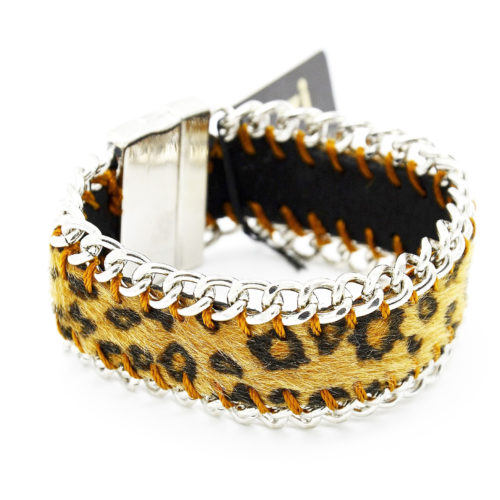 Bracelet-Aimante-Effet-Fourrure-Leopard-et-Contour-Chaine-BeigeArgente