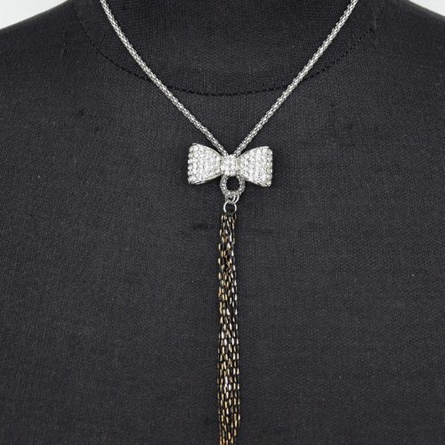 Collier-Pendentif-Noeud-Strass-et-Chaines-Metal-Argente