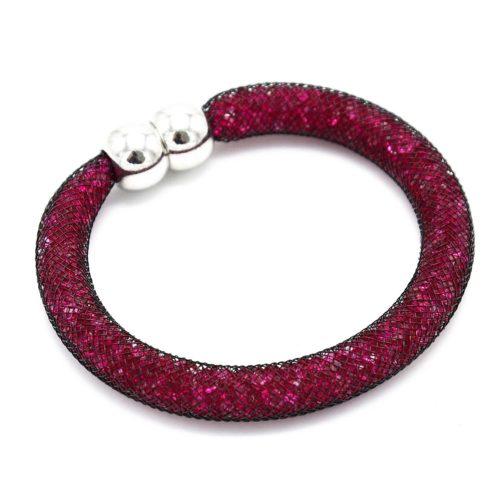 Bracelet-Aimante-Stardust-Tube-Resille-avec-Cristaux-FuchsiaNoir