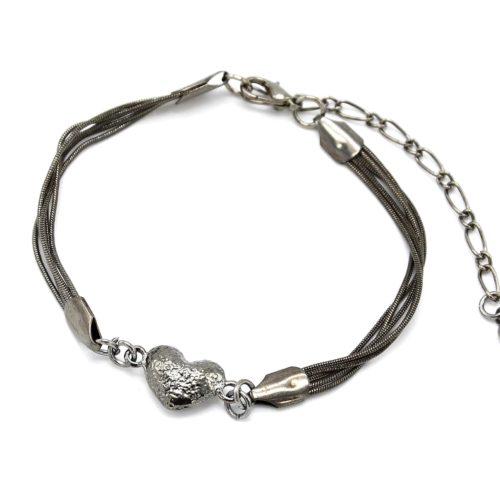 Bracelet-Multi-Chaines-Serpent-et-Charm-Coeur-Metal-Gris