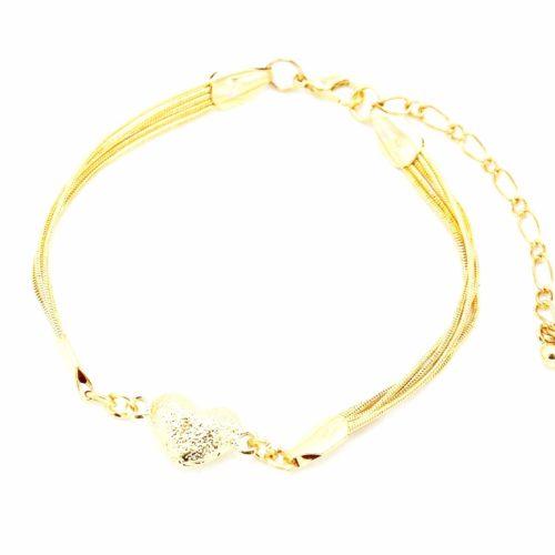 Bracelet-Multi-Chaines-Serpent-et-Charm-Coeur-Metal-Dore