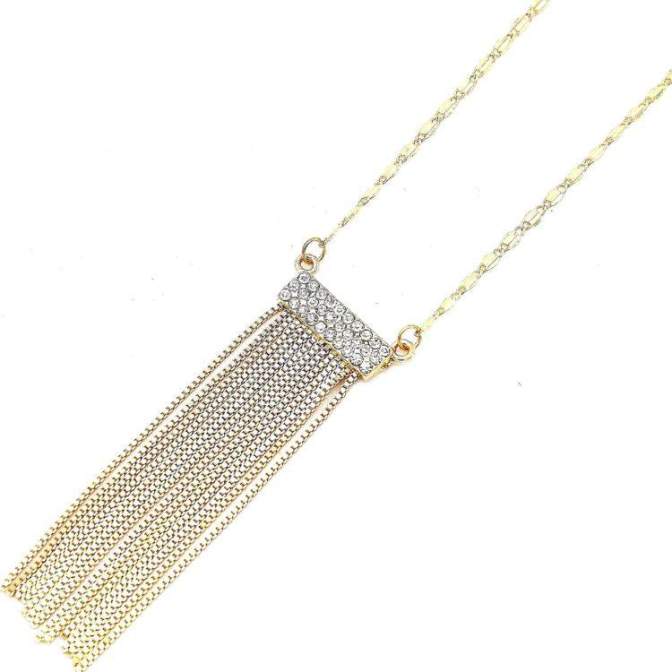 Collier-Pendentif-Bande-Strass-et-Franges-Metal-Dore