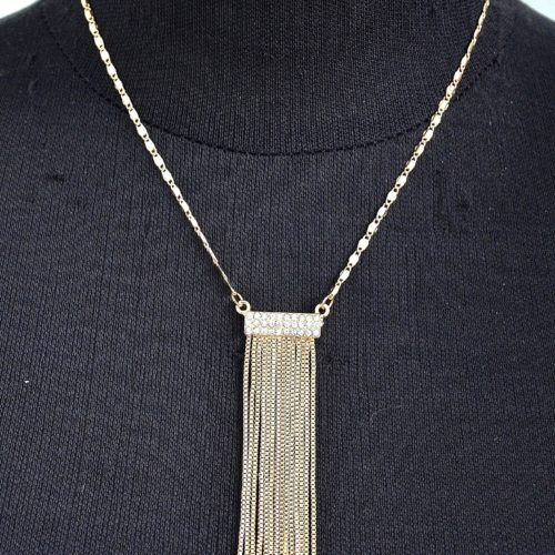 Collier-Pendentif-Bande-Strass-et-Franges-Metal-Dore