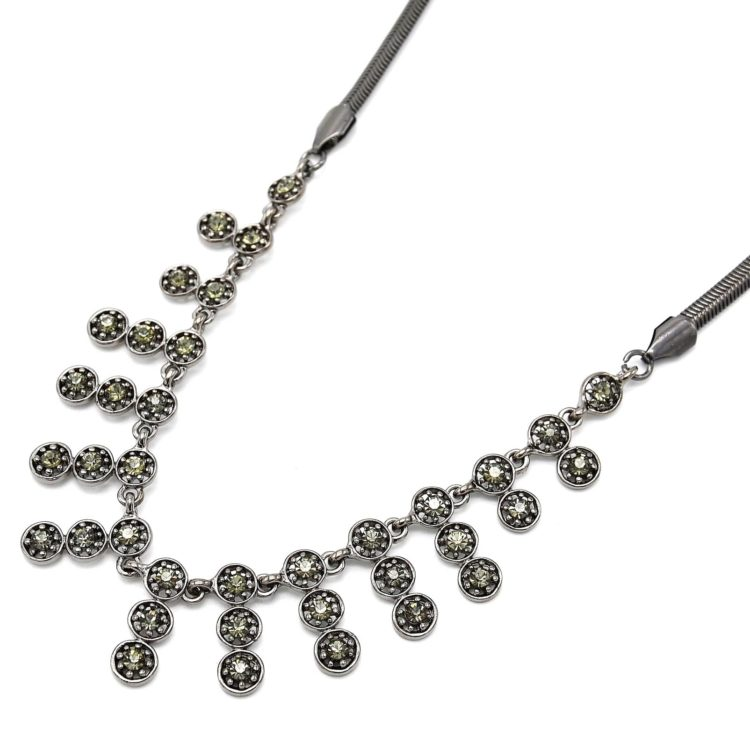 Collier-Pendentif-Multi-Bandes-Cercles-Strass-Gris