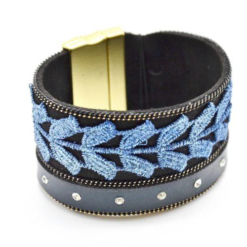 Bracelet-Manchette-Aimante-Feutrine-et-Couronne-de-Laurier-Bleu