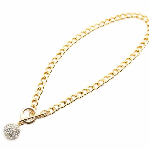 Collier-Chaine-Maillons-et-Pendentif-Boule-Strass-Dore