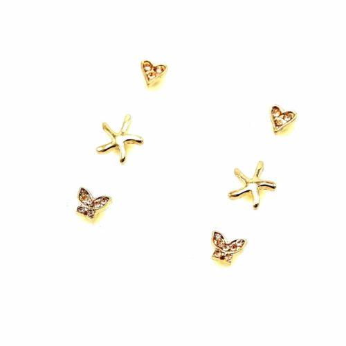 Plaque-3-Paires-Boucles-dOreilles-Coeurs-Etoiles-de-Mer-et-Papillons-Strass-Metal-Dore