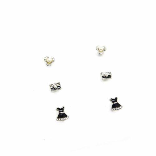 Plaque-3-Paires-Boucles-dOreilles-Fleurs-Sacs-et-Robes-Strass-Metal-Perle-Argente