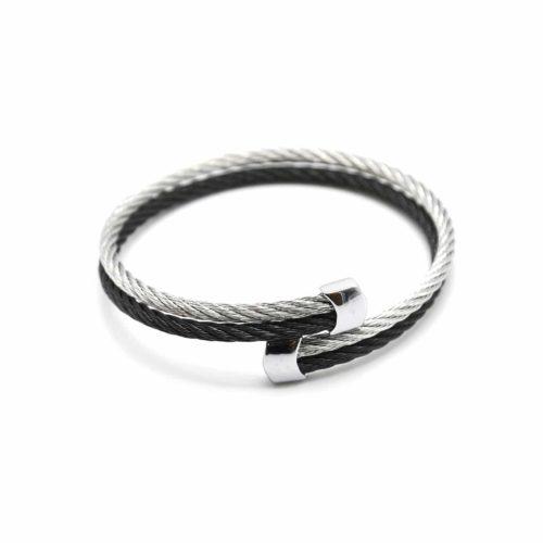 Bracelet-Double-Joncs-Torsades-Acier-Noir-Argente-avec-Embouts