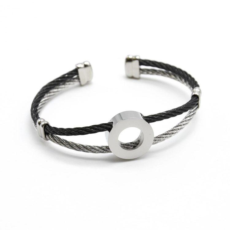 Bracelet-Double-Joncs-Torsades-Noir-avec-Charm-Cercle-Acier-Argente