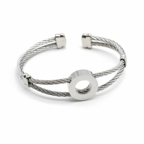 Bracelet-Double-Joncs-Torsades-avec-Charm-Cercle-Acier-Argente