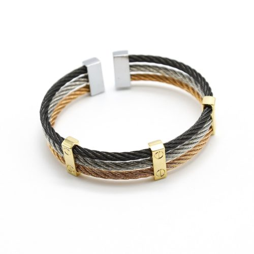 Bracelet-Triple-Joncs-Torsades-Acier-Noir-Argente-Dore