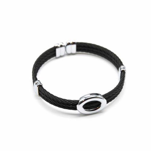 Bracelet-Triple-Joncs-Torsades-avec-Ovale-Contour-Acier-Argente