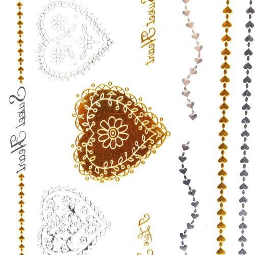 Planche-Tattoo-Tatouage-Ephemere-Temporaire-Metallique-Body-Art-Coeurs-ArgentOr
