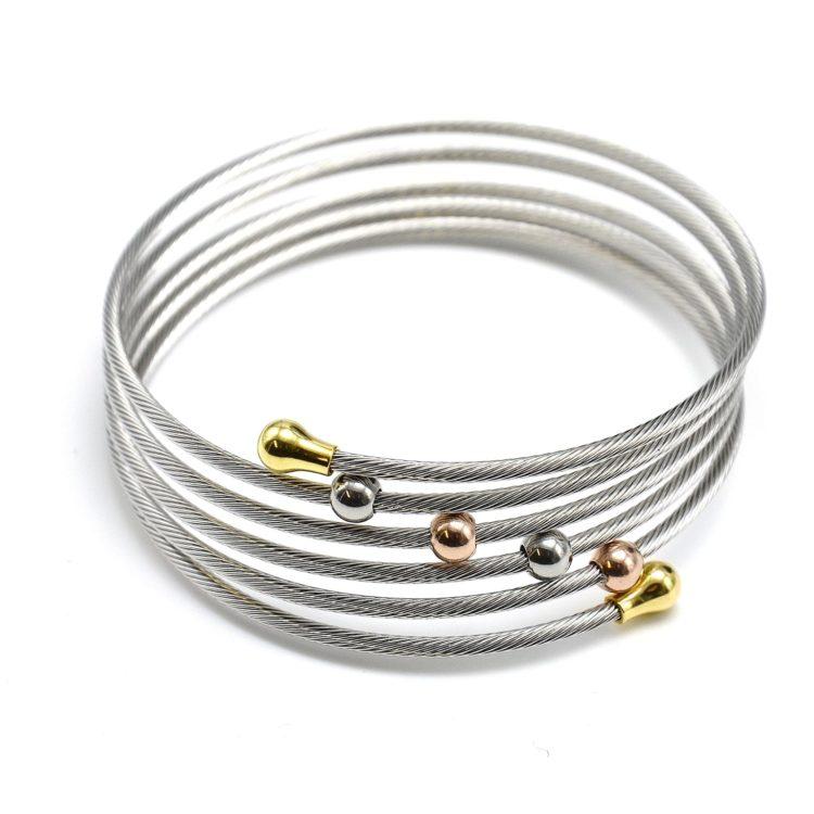 Bracelet-Manchette-Jonc-Torsade-avec-Perles-et-Bouts-Ronds-Acier-Tricolore