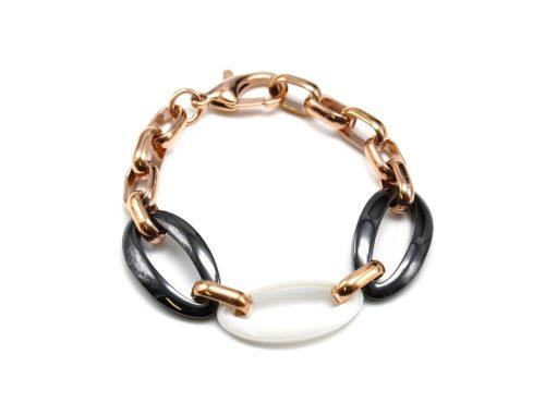 Bracelet-Chaine-Maillons-Acier-et-Ovales-Ceramique-NoirBlancOr-Rose