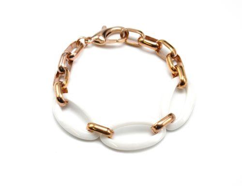 Bracelet-Chaine-Maillons-Acier-et-Ovales-Ceramique-BlancOr-Rose