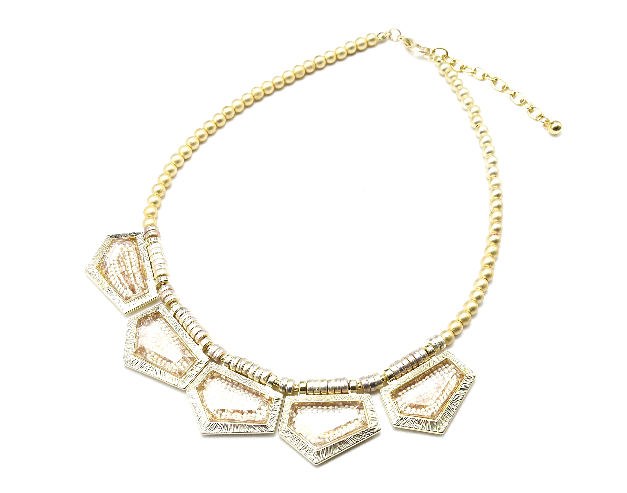 cc795 collier plastron pendentif formes g om tiques avec perles l 39 int rieur beige dor. Black Bedroom Furniture Sets. Home Design Ideas