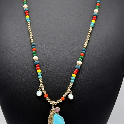 Sautoir-Collier-Perles-Multicolore-Pendentif-Plumes-et-Chaines-Metal-Dore