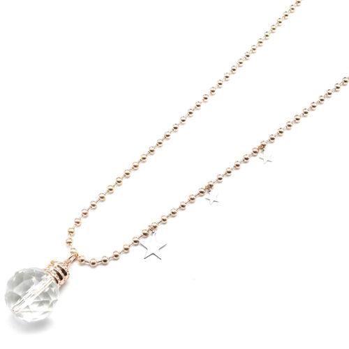 Sautoir-Collier-Pendentif-Boule-Facettes-avec-Etoiles-Metal-Or-RoseArgente