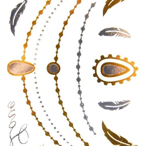 Planche-Tattoo-Tatouage-Ephemere-Temporaire-Metallique-Body-Art-Colliers-et-Plumes-ArgentOr