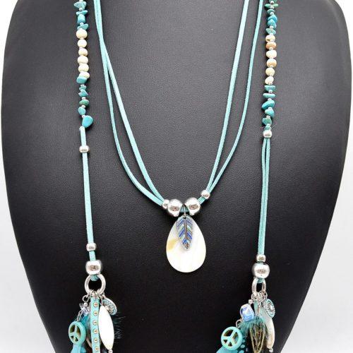 Sautoir-Collier-Enroule-Style-Foulard-Nacre-Perles-Charms-et-Plumes-Ethnique-Turquoise