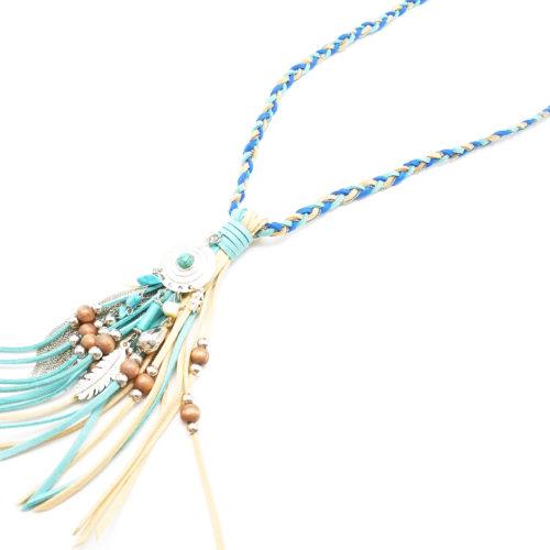 Sautoir-Collier-Tresse-Pendentif-Franges-Chaines-et-Perles-Bois-BleuBeige