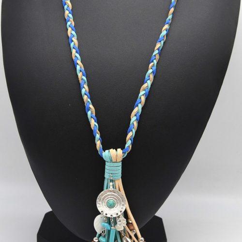 Sautoir-Collier-Tresse-Pendentif-Franges-Chaines-et-Perles-Bois-Bleu-Beige