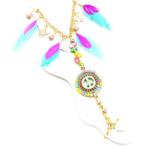 Bracelet-Chaine-de-Cheville-Plumes-Etoiles-avec-Charm-Rond-Peace-Ethnique-Multicolore