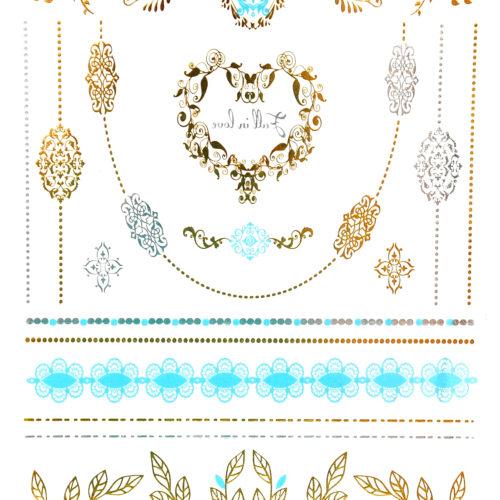 Planche-Tattoo-Tatouage-Ephemere-Body-Art-Baroque-Feuilles-ArgentOrBleu